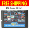 2019 Popular SEGA Mega Drive Genesis 196 in1 Game Cartridge 16 BIT MD Game Card