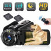 Video Camera Camcorder with LED Fill Light, 2020 Updated 1080p 30MP 30FPS FHD YouTube Vlogging Camer