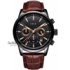 LIGE Watch Men's Fashion Waterproof Sports Chronograph Analogue Quartz Stainless Steel Leather